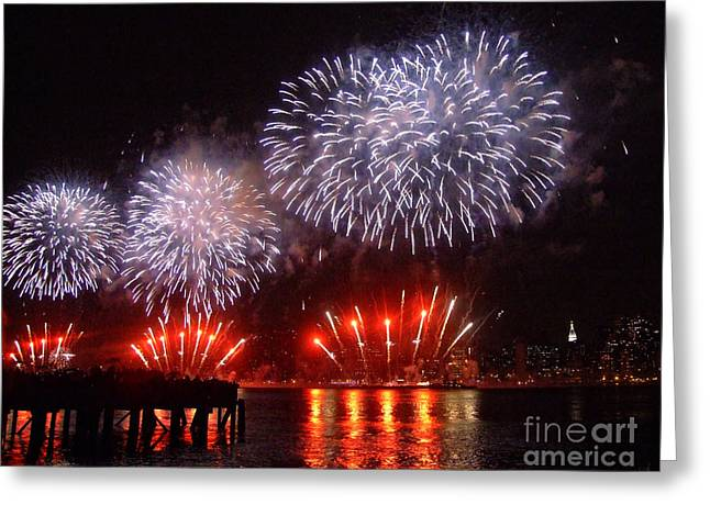 View Framed Prints Greeting Cards - Macys July 4th Fireworks in New York City Greeting Card by Nishanth Gopinathan