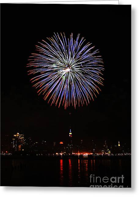 4th July Photographs Greeting Cards - Fireworks over the Empire State Building Greeting Card by Nishanth Gopinathan