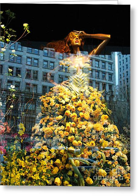 Fashionista Greeting Cards - Macys Yellow Rose Woman Greeting Card by adSpice Studios