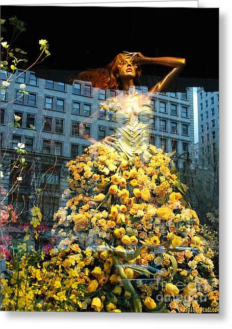 Fashionista Greeting Cards - Fantasy Yellow Rose Woman Greeting Card by ArtyZen Studios - ArtyZen Home
