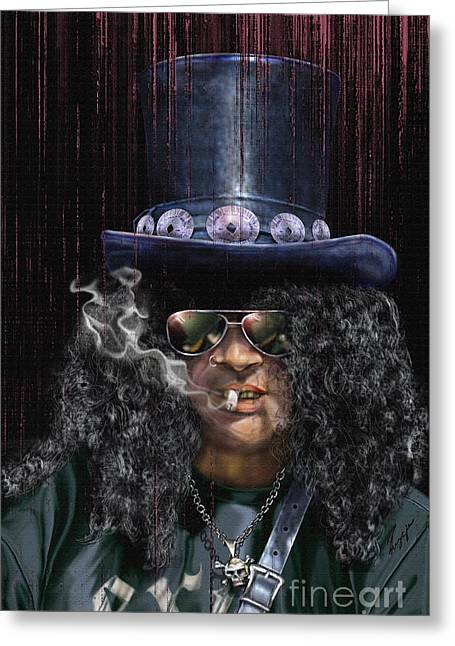 Super Stars Paintings Greeting Cards - Mad As A Hatter - Slash Greeting Card by Reggie Duffie