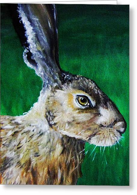 March Hare Greeting Cards - Mad as a March Hare Greeting Card by Stacey Clarke