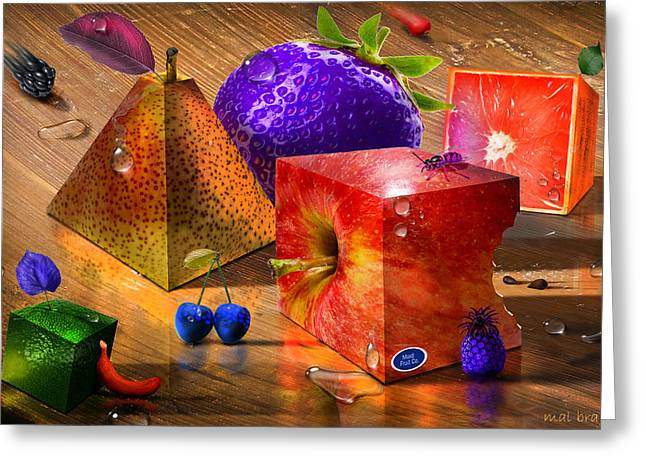 Menu Greeting Cards - Mad Fruit Greeting Card by Mal Bray