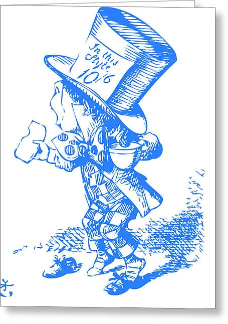 Mad Hatter Blue Greeting Card by