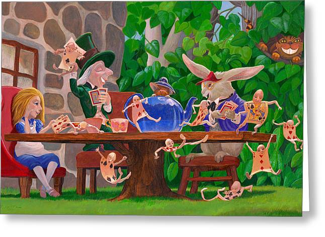 Mad Hatter Card Party Greeting Card by Leonard Filgate