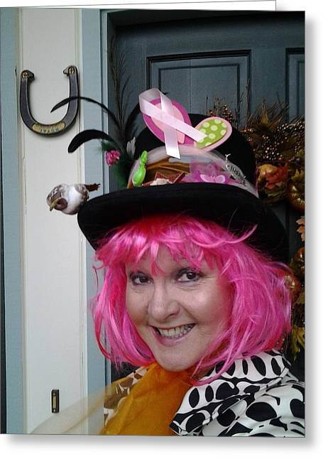 Mad Hatter Photographs Greeting Cards - Mad Hatter Tea For Breast Cancer Screening Greeting Card by Marie Jamieson
