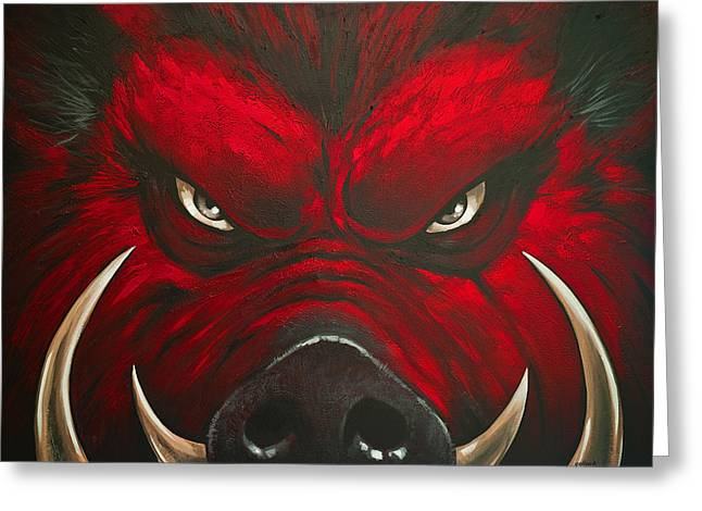 Mad Hog Greeting Card by Glenn Pollard