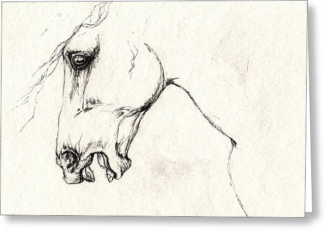 Wild Horses Drawings Greeting Cards - Mad Horse Greeting Card by Angel  Tarantella