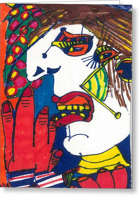 Jester Mixed Media Greeting Cards - Mad Jester Greeting Card by Don Koester
