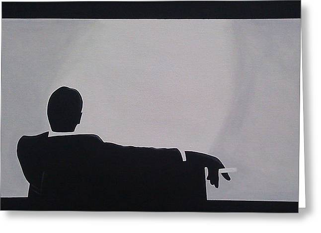 Black Greeting Cards - Mad Men in Silhouette Greeting Card by John Lyes
