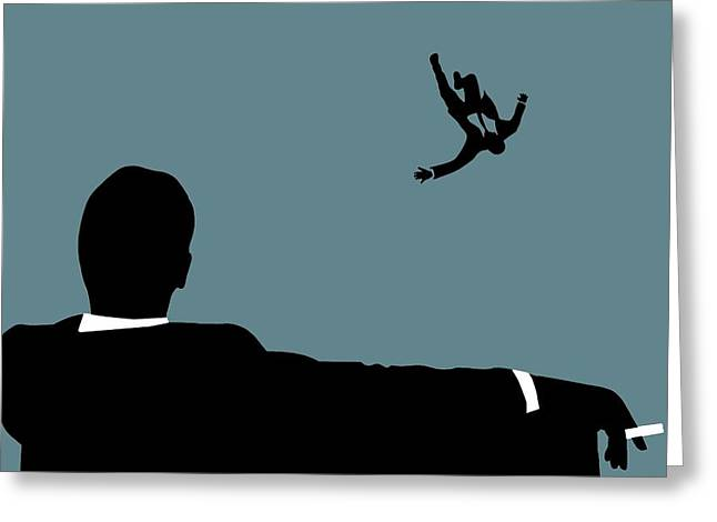 Moss Man Greeting Cards - Mad Men On Blue Greeting Card by Dan Sproul