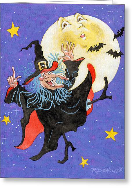 Man In The Moon Greeting Cards - Mad Millie Moon Dance Greeting Card by Richard De Wolfe