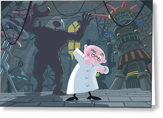Mad Professor Experiment Greeting Card by Martin Davey