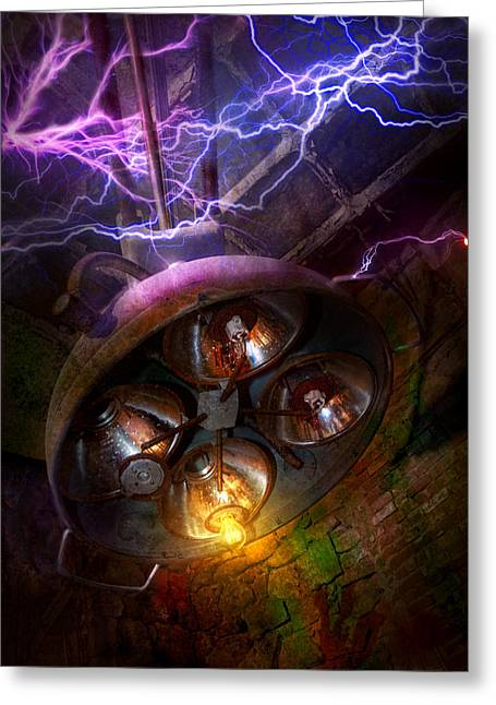 Volt Greeting Cards - Mad Scientist - Your operation was a success Greeting Card by Mike Savad