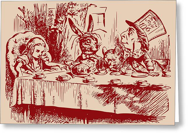 March Hare Greeting Cards - Mad Tea Party Greeting Card by