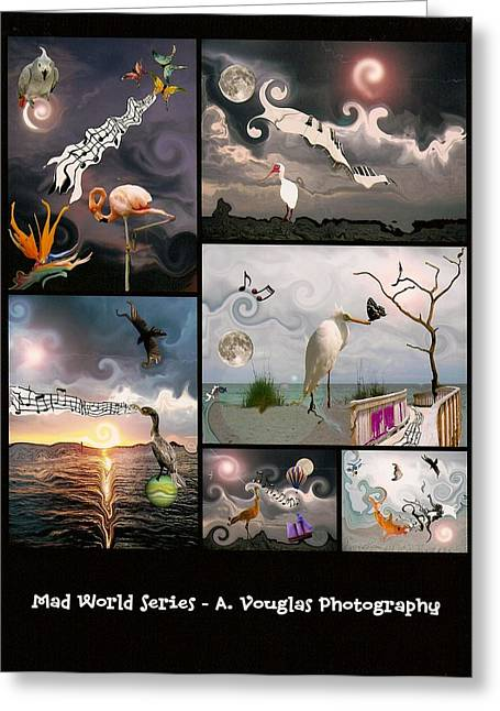 Bird Digital Art Greeting Cards - Mad World Series Collage Greeting Card by Amanda Vouglas