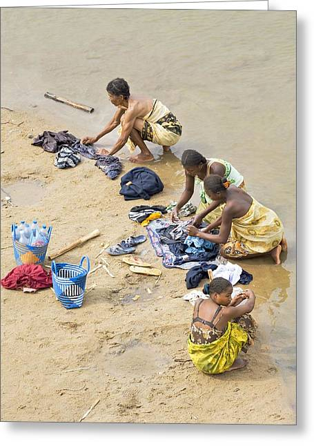 Bathing Washing Cleaning Greeting Cards - Madagascan river scene Greeting Card by Science Photo Library