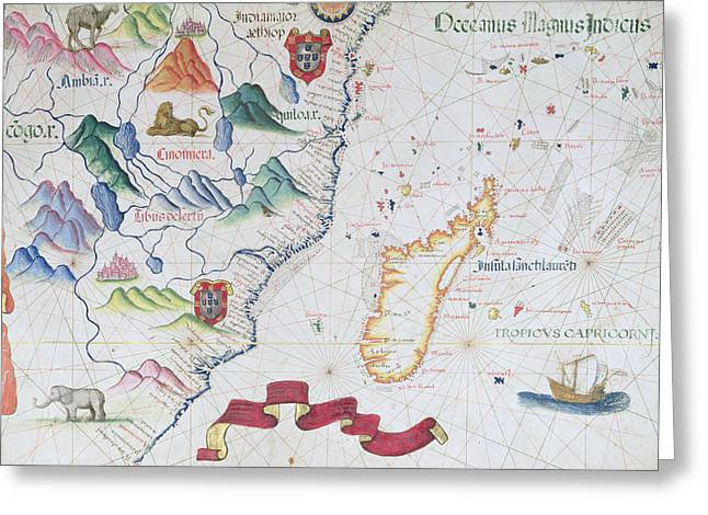 Zimbabwe Photographs Greeting Cards - Madagascar And East African Coastline, Detail From A World Atlas, 1565 Vellum Greeting Card by Diego Homem