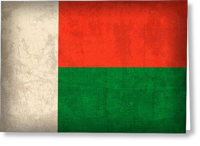 Madagascar Flag Vintage Distressed Finish Greeting Card by Design Turnpike