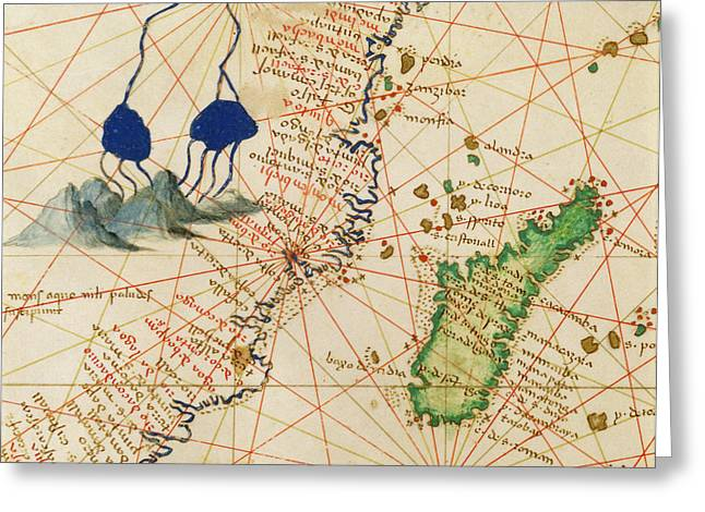 Nautical Chart Greeting Cards - Madagascar, From An Atlas Of The World In 33 Maps, Venice, 1st September 1553 Ink On Vellum Detail Greeting Card by Battista Agnese