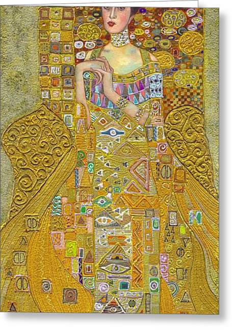 Adele Paintings Greeting Cards - Madam Adele Bloch Bauer after Klimt Greeting Card by Kate Bedell