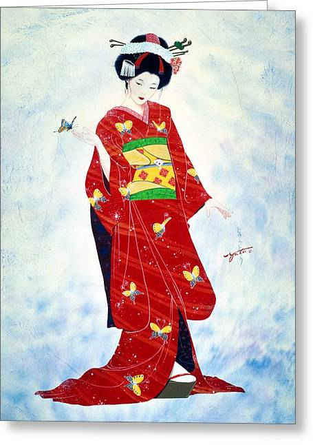 Watercolor. Butterfly Greeting Cards - Madam Butterfly Asian Art  Greeting Card by John YATO