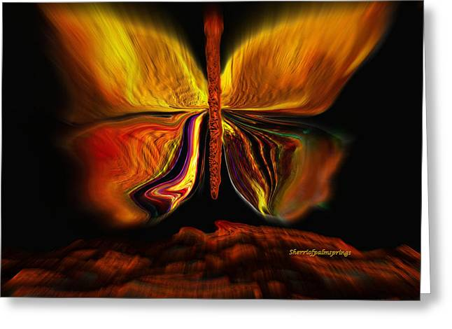 Sherri Painting Greeting Card featuring the digital art Madam Butterfly by Sherri  Of Palm Springs