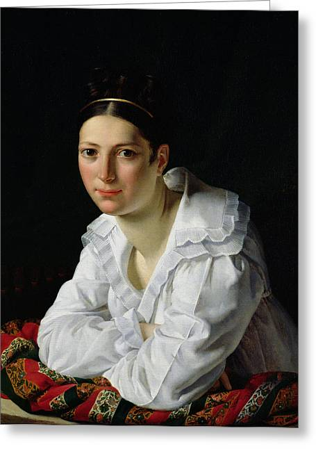 White Shirt Greeting Cards - Madama Claude Marie Dubufe 1793-1837 1818 Oil On Canvas Greeting Card by Claude-Marie Dubufe