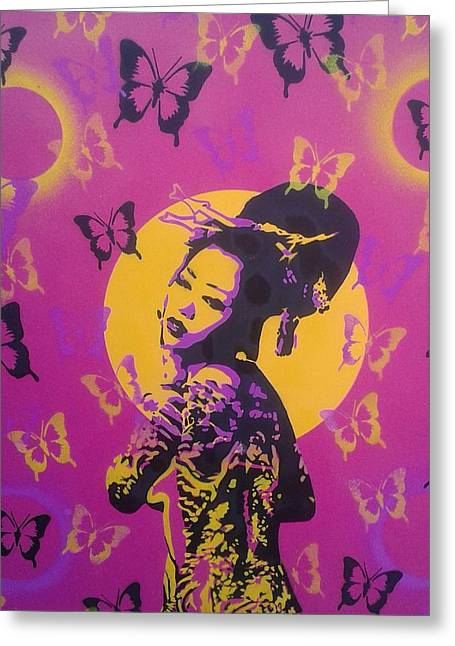 Prints Greeting Cards - Madame Butterfly Greeting Card by Leon Keay