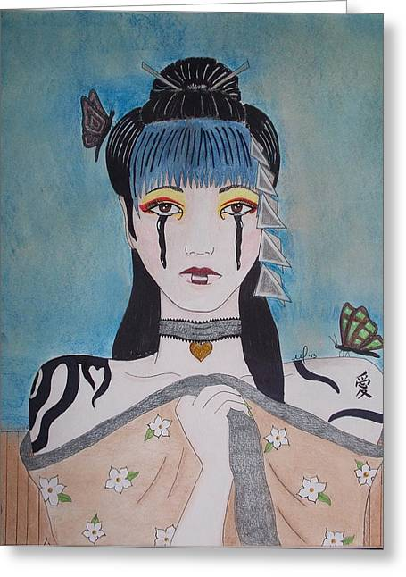 Recently Sold -  - Tears Greeting Cards - Madame Butterfly Greeting Card by Melanie Hamm