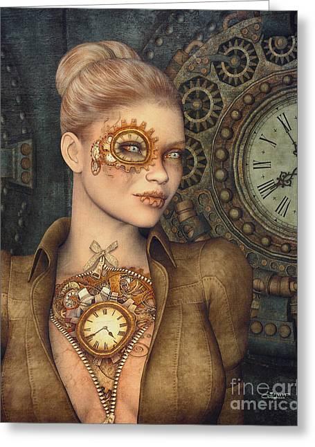 Madame Clockwork Greeting Card by Jutta Maria Pusl