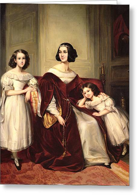 Et Greeting Cards - Madame De Nonjon And Her Two Daughters, 1839 Oil On Canvas Greeting Card by Joseph Nicolas Jouy
