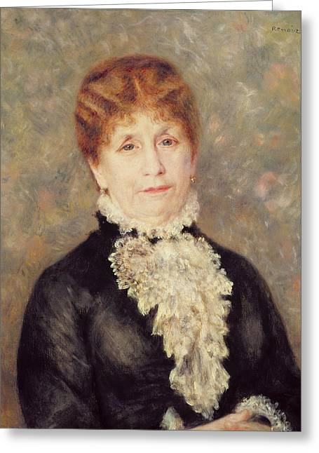 Elderly Female Greeting Cards - Madame Eugene Fould Greeting Card by Pierre Auguste Renoir