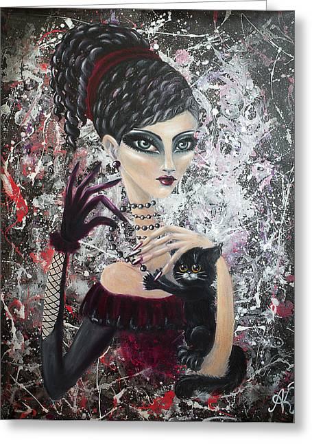 Beaded Gloves Greeting Cards - Madame Fleur Greeting Card by Anastasija Kristala