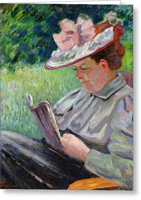 Profile Portrait Greeting Cards - Madame Guillaumin Greeting Card by Jean Baptiste Armand Guillaumin