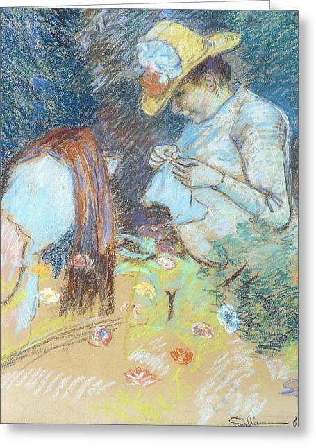 Signature Pastels Greeting Cards - Madame Guillaumin Sewing Greeting Card by Jean Baptiste Armand Guillaumin