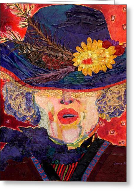 Diane Fine Greeting Cards - Madame Hatter Greeting Card by Diane Fine