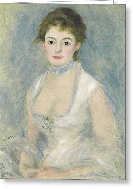 Choker Greeting Cards - Madame Henriot, C.1876 Oil On Canvas Greeting Card by Pierre Auguste Renoir