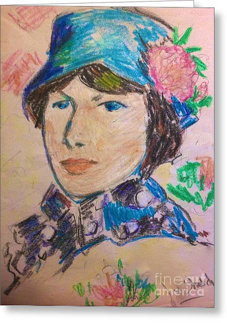 Morisot Cards Greeting Cards - Madame In A Blue Straw Hat Greeting Card by Joan-Violet Stretch
