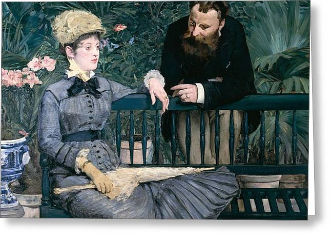 France 1874-1886 Greeting Cards - Madame Manet in greenhouse Greeting Card by Edouard Manet