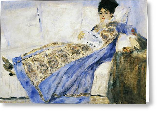 Cushion Paintings Greeting Cards - Madame Monet Reading Greeting Card by Pierre-Auguste Renoir