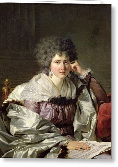 Wife Greeting Cards - Madame Nicaise Perrin, Nee Catherine Deleuze Oil On Canvas Greeting Card by Jean Charles Nicaise Perrin