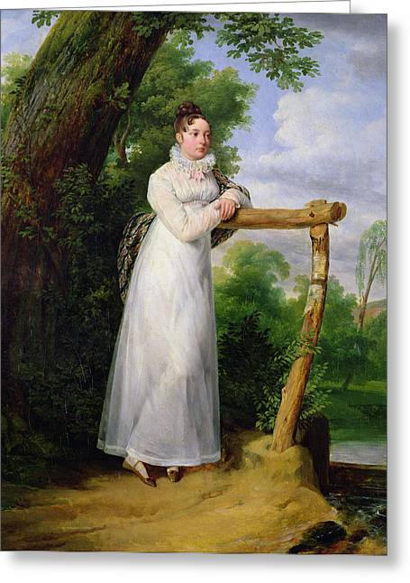 Full-length Portrait Photographs Greeting Cards - Madame Philippe Lenoir 1792-1874 1814 Oil On Canvas Greeting Card by Emile Jean Horace Vernet