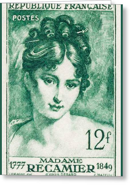 Clever Paintings Greeting Cards - Madame Recamier 1777-1849 Stamp Greeting Card by Lanjee Chee