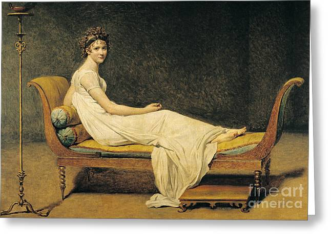 Julie Greeting Cards - Madame Recamier Greeting Card by Jacques Louis David