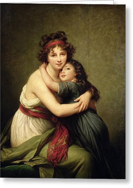 Self-portrait Greeting Cards - Madame Vigee-lebrun And Her Daughter, Jeanne-lucie-louise 1780-1819 1789 Oil On Canvas Greeting Card by Elisabeth Louise Vigee-Lebrun