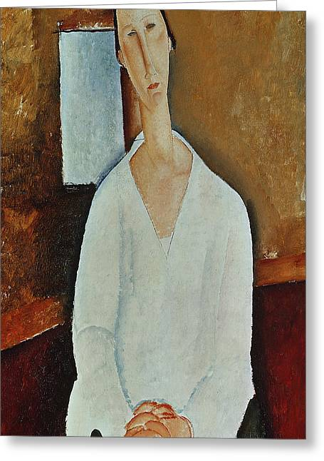 Clasped Greeting Cards - Madame Zborowska with Clasped Hands Greeting Card by Amedeo Modigliani