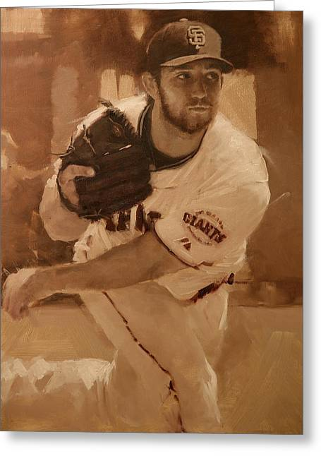 Baseball Paintings Greeting Cards - Madbum 2012 Greeting Card by Darren Kerr