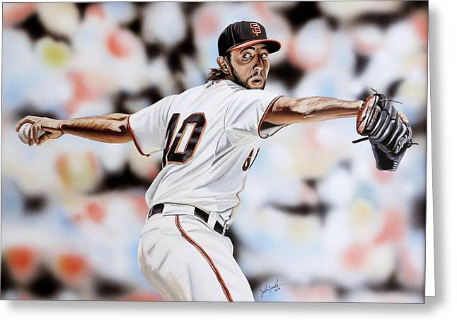 49ers Paintings Greeting Cards - MadBum Greeting Card by Joshua Jacobs