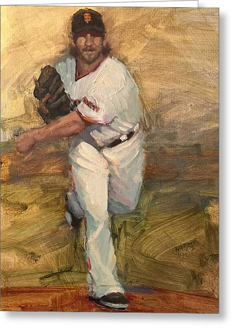 Baseball Paintings Greeting Cards - Madbum Warmup Sketch Greeting Card by Darren Kerr